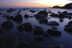 Malibu lowtide at sunset. Beautiful sunset at Malibu, California. Leo Carrillo Beach at lowtide Royalty Free Stock Image