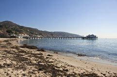 Malibu Morning. Mid morning at Malibu pier and beach in sunny southern California Stock Image