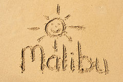 Malibu. A picture of the word Malibu drawn in the sand Royalty Free Stock Photos