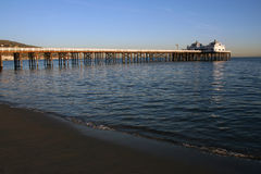 Malibu Pier. Calm evening on the beach at Malibu California Royalty Free Stock Images