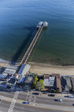 Malibu Pier Aerial. Malibu, California, USA - December 17, 2016:  Aerial of popular Malibu Pier State Park in the Santa Monica Bay Royalty Free Stock Image