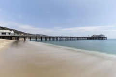 Malibu Pier Beach with Motion Blur Pacific Water Royalty Free Stock Images
