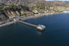 Malibu Pier California Pacific Ocean Aerial Fotografía de archivo