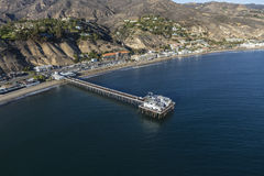 Malibu Pier California Pacific Ocean Aerial. Aerial of Malibu Pier and the Pacific Ocean in Southern California Stock Photography