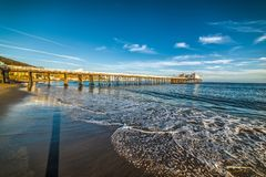 Malibu pier on a clear day at sunset Royalty Free Stock Images