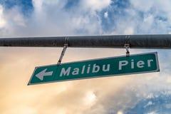 Malibu Pier entrance sign, California.  Royalty Free Stock Image