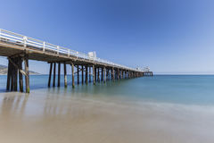 Malibu Pier with Motion Blur Water in California Stock Photo