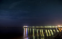 Malibu Pier at Night with stars. The Malibu Pier at night time in southern california at night time with stars out Stock Image