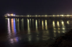 Malibu Pier at Night. The Malibu Pier at night time in southern california Stock Photos