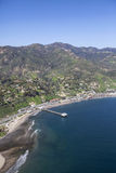 Malibu Pier and Santa Monica Mountains Stock Photo