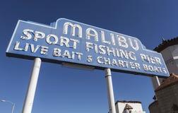 Malibu Pier Sign Fotos de archivo libres de regalías