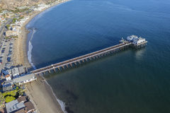 Malibu Pier State Park Aerial. Aerial view of Malibu Pier State Park in Southern California Royalty Free Stock Image