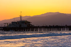 Malibu Pier sunset. Beautiful view of Malibu Pier at sunset Royalty Free Stock Image