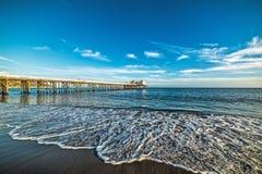 Malibu pier at sunset Stock Photos
