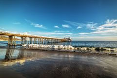 Malibu pier at sunset. Los Angeles, California Royalty Free Stock Images