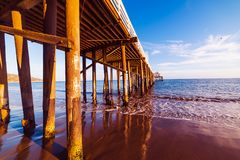 Malibu pier at sunset. Los Angeles, California Royalty Free Stock Photo