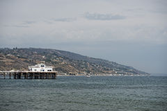 Malibu Pier. With surfers and pelicans Royalty Free Stock Photo