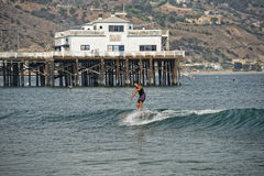 Malibu Pier. With surfers and pelicans Royalty Free Stock Photos