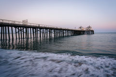 The Malibu Pier at twilight, in Malibu, California. The Malibu Pier at twilight, in Malibu, California Stock Image