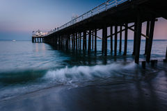 The Malibu Pier at twilight, in Malibu, California. The Malibu Pier at twilight, in Malibu, California Royalty Free Stock Images