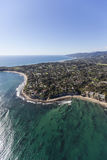 Malibu Point Dume and Pacific Ocean Aerial. Aerial view of Point Dume and clear Pacific Ocean water in Malibu, California Royalty Free Stock Images