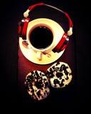 Malibu redpepper greenpepper redbow beans aroma. Music blackcoffee oreo sweet whitecup Royalty Free Stock Photo
