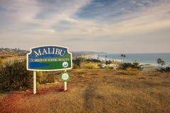Malibu road sign near Los Angeles, California. Malibu, California, USA - January 8, 2018 : Malibu road sign situated along the Pacific Coast Highway near Los Stock Photo