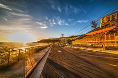 Malibu seafront at sunset. California, USA Stock Photos