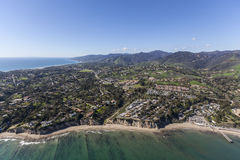 Malibu Shoreline Homes Aerial. Aerial of ocean view homes near Paradise Cove in Malibu, California Stock Photos