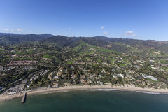 Malibu Shoreline Homes and Estates Aerial. Aerial of shoreline and hillside ocean view homes and estates in Malibu California Royalty Free Stock Photos
