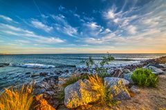 Malibu shoreline at sunset Royalty Free Stock Photos