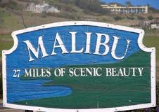 Malibu Sign. A sign welcoming visitors to Malibu, CA Stock Image
