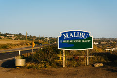 Malibu Sign, along Pacific Coast Highway, in Malibu, California. Stock Photo
