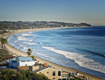 Malibu, Southern California. A panoramic view of Malibu, a popular and famous beach front area in southern California, just north of Los Angeles, on the Pacific Stock Photos