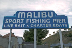 The �Malibu Sport Fishing Pier� sign at the newly remodeled Malibu Pier, Malibu, California Stock Photo