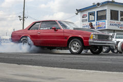 Malibu start. Napierville may 30-31, 2015 picture of Chevrolet Malibu making a smoke show during festidrag event Royalty Free Stock Images
