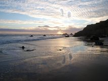 Malibu Sunset. Crashing surf on the rocky California coast Royalty Free Stock Photo