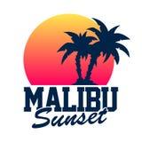 Malibu Sunset vector illustration