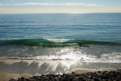 Malibu Surf. The California coastline north of Malibu and along the Pacific Coast Highway Stock Photo