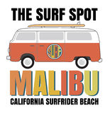 Malibu surf typography, t-shirt graphics, vectors Royalty Free Stock Photo