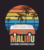 Malibu surf typography, t-shirt graphics, vectors Stock Image