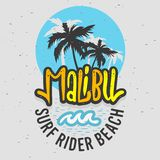 Malibu surfent la conception Logo Sign Label de Rider Beach California Surfing Surf pour les annonces T-shirt de promotion ou l'a illustration libre de droits