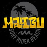 Malibu surfent la conception Logo Sign Label de Rider Beach California Surfing Surf pour les annonces T-shirt de promotion ou l'a illustration de vecteur