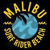 Malibu surfent la conception Logo Sign Label de Rider Beach California Surfing Surf pour les annonces T-shirt de promotion ou l'a illustration stock