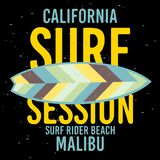Malibu surfent le label de signe de Rider Beach California Surfing Surf pour les annonces T-shirt de promotion ou l'insecte Desig illustration de vecteur