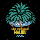 Malibu surfent le label de signe de Rider Beach California Surfing Surf pour les annonces T-shirt de promotion ou l'insecte Desig illustration libre de droits