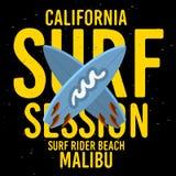 Malibu surfent le type typographique de Rider Beach California Surfing Surf label de signe de conception pour des annonces T-shir illustration de vecteur