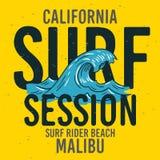 Malibu surfent le type typographique de Rider Beach California Surfing Surf label de signe de conception pour des annonces T-shir illustration stock