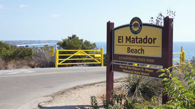 MALIBU, UNITED STATES - OCTOBER 9, 2014: Beautiful and romantic El Matador State Beach in Southern California - entry. Sign royalty free stock photography