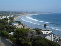 Malibu View, California. The view of the Pacific Ocean and homes on the Malibu Beach coastline, California, USA Royalty Free Stock Photos